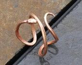 Recycled Hammered Copper Snake Ring Serpent Ring Adjustable Ring