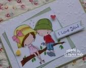 I LOVE YOU - Handmade blank greeting card with sweet boy and girl