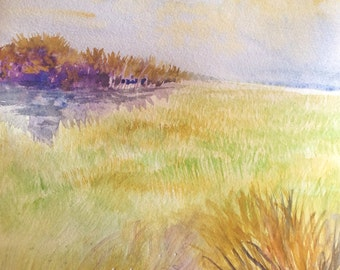 "Watercolor, Original Landscape Painting, Spring Meadow, 9""x12"""