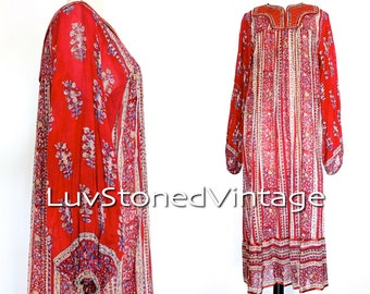 Rare Vintage 70s California Dream Indian Tent Tunic Boho Hippie Cotton Gauze Gypsy India Festival Midi Dress | XS/SM | 1004.6.13.15