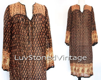 70s Vintage In Depot India Tent Gauze Cotton Boho Hippie Indian Ethnic Festival Maxi Dress | SM | 1008.6.23.15
