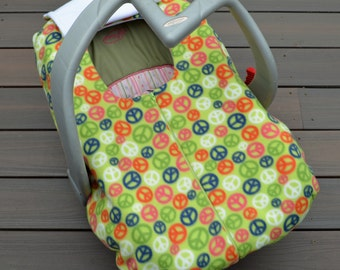 Peace Carseat Cover for Baby, Fall Winter Spring Accessory, Blanket alternative for Rear-facing Car Seat in Green, Blue, Orange