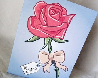 Tattoo Pink Rose Greeting Card - Customized with Your Name or Phrase