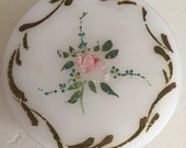 Vintage Milk Glass Powder Dish - Hand Painted Pink Rose Bud - Boudoir Vanity - French Gold