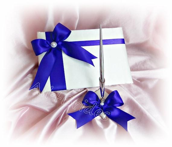 Royal Blue Wedding Guest Book And Pen Set Wedding