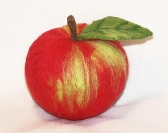 Needle Felted Macintosh Apple with Leaf - Life Size