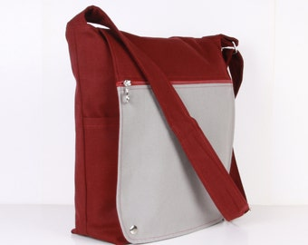 Men Messenger / Claret Red Gray Canvas / Cream Lining / Adjustable strap / Women Messenger / Travel Bag
