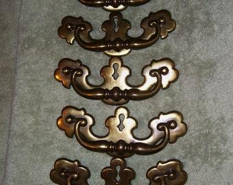 Chippendale Keyhole Handles Pulls Brass Plated Furniture Drawer Vintage Hardware Lot 7