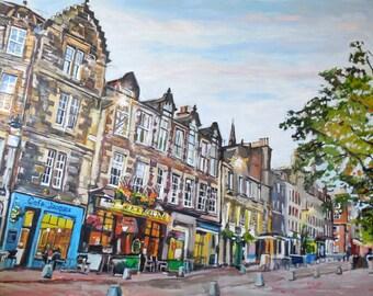 Edinburgh Grassmarket Scotland, 8x10  11x14  12x16 Fine Art Giclee Print, Dusk Architecture Oil Painting by Gwen Meyerson