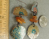 Vintage tin and Baltic Amber earrings