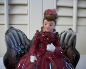 Victorian Lady Figurine - Victorian Settee Loveseat - Porcelain Figurine - Thames Handpainted Made in Japan