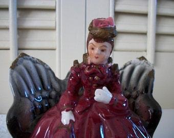 Victorian Lady Figurine - Victorian Settee Loveseat - Porcelain Figurine - Thames Handpainted Made in Japan