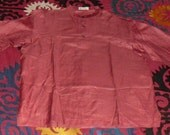 Vintage Never Worn Hand Loomed Indian Tunic Tussah Silk in Pomegranate Red L/XL