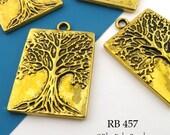 Large Tree of Life Rectangle Charm Tree of Life Pendant Brass Gold 32mm (RB 457) 3 pcs BlueEchoBeads