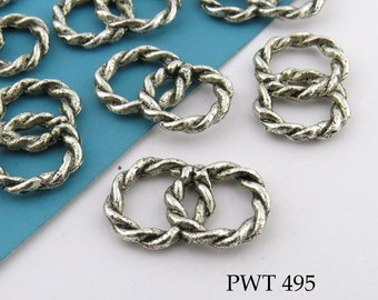 12mm Joined Pewter Connector Link Double Twisted Rings (PWT 495) 12 pcs BlueEchoBeads