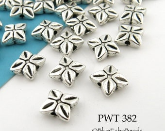 Pinwheel Pewter Beads 7mm Flower Star Bead Antique Silver (PWT 382) 25 pcs BlueEchoBeads