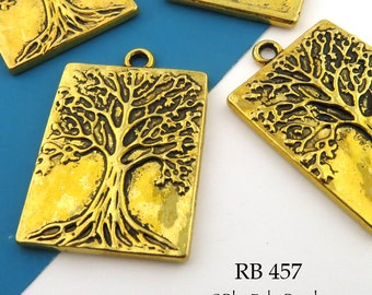 Large Tree of Life Rectangle Charm Tree of Life Pendant Brass Gold 32mm (RB 457) 3 pcs BlueEchoBeads