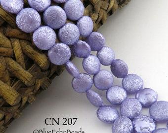 10mm Light Purple Lilac Czech Glass Coin Pearl Beads (CN 207) BlueEchoBeads 15 pcs