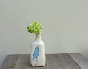 Blue bird vase, ONE bird vase, small bird flower vase, ceramic spring flower garden vase