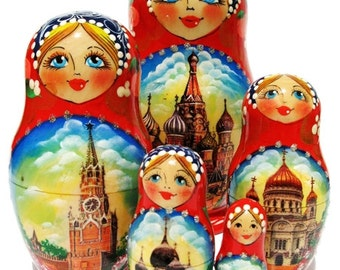 Moscow Russian Nesting Doll 5 Piece Babushka Set