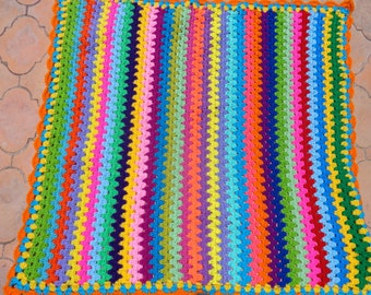 Stripes of many colours  crochet blanket