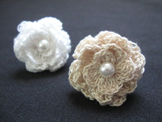 Crochet flower rings adjustable ring small by kayclairgoodies