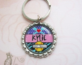 Personalized Zipper Pull, Keychain with your sport and name