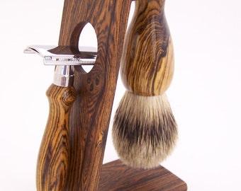Bocote Wood 22mm Silvertip Badger Shaving Brush, DE Safety Razor Razor and Stand Shaving Set (Handmade in USA)  B24