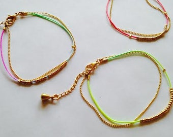 Beaded Bracelet with Gold Ball Chain