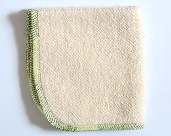Hemp - Organic Cotton Washcloth 9 x 9 inches Green Trim by Aquarian Bath - Go green - ecofriendly -French Terry