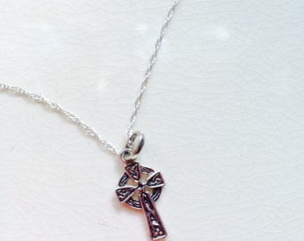 Sterling silver ornate  cross necklace