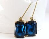 Vintage Glass Royal Blue Earrings - Navy Blue Earrings - Blue Earring - Dark Sapphire