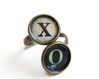 Typewriter key initials ring -  antique brass - personalized custom ring