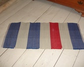 Blue Red Tan hand dyed wool rug hand woven 24 x  50