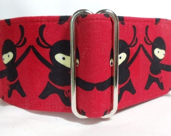 Ninja Boys Red and Black Greyhound, Whippet, Galgo, Saluki, Dog, Pit Bull  Martingale Collar