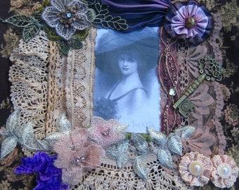 Handbag, embellished cotton fabric, vintage lace and trim, shibori ribbon