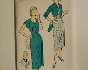 Vintage 50s Slim Front Button Dress and Bolero Pattern New York 1467 Size 16 Bust 34 UNCUT