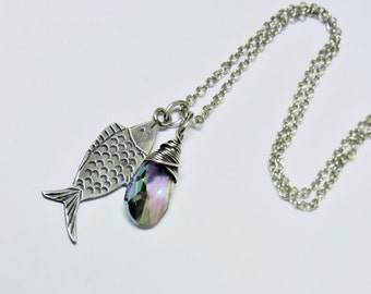 Sterling Silver Fish and Wire Wrapped Light Rainbow Swarovski Crystal Necklace