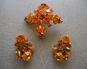 Vintage Austrian Amber Crystal Brooch Pin and  Clip Earrings