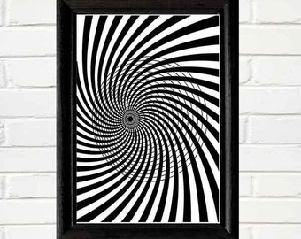 OPTICAL ILLUSION art print wall decor black white geometric modern Instant Printable Download digital file 5x7, 8x10, 11x14