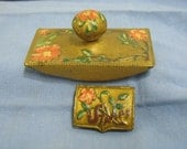 Antique Stamp Blotter & Box Embossed Floral Flowers Vintage Desk Set