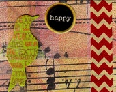 Happy Collage Art, ACEO, One of a Kind, OOAK, Mini Art, Original