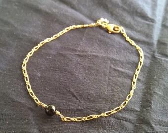 Black Onyx Gold Sterling Silver Bracelet