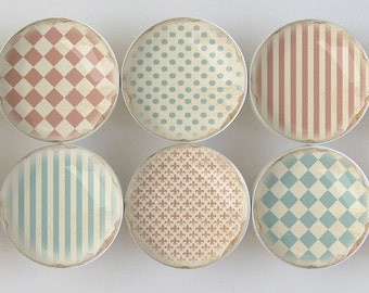 Distressed Shabby Pattern Knobs, Washed-Out Faded Red and Blue Pattern Knobs, Shabby Knobs- - 1 1/2 Inches - Made to order