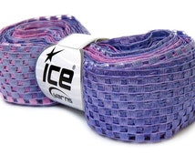 checkers ribbon yarn . heather . ice yarn 1 skein 38yds . extra wide ribbon yarn . lilac lavender pink ombre ladder railroad yarn