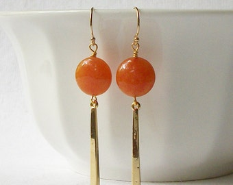 Rusty Orange and Gold Earrings