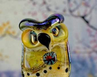 Ponzu....... lampwork owl bead......... sra