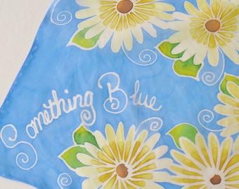Hand Painted Silk Handkerchief - Something Blue Bridal Hankie Bride Shower Wedding Sky Aqua Blue Flowers Daisy Daisies Pale Yellow Cream