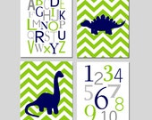 DINOSAUR Nursery Art Baby Boy Bedroom Nursery Decor - Alphabet, Numbers, Chevron Dinosaurs - Set of Four 8x10 Prints - Choose Your Colors