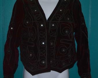 Red Velvet Boho Gypsy Bolero Jacket